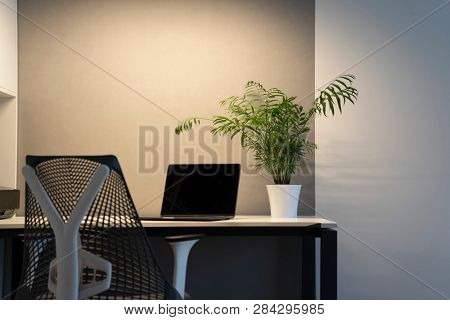 Modern comfortable workspace - computer desk, orthopaedic chair with artificial light. New modern laptop with black screen and green flowerpot on an office table. Green workspace concept.
