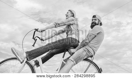 Date Ideas. Man And Woman Rent Bike To Discover City. Bike Rental Or Bike Hire For Short Periods Of