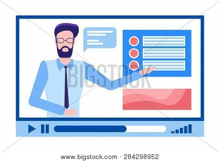 Online Courses Male In Glasses With Beard Explaining Material Vector. Person With Explanation Of Tas