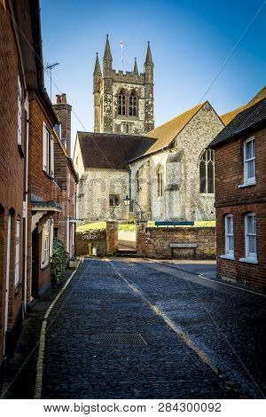 Typical Street With Church In Farnham Surrey In South Of England