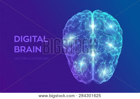 Brain. Digital Brain. 3d Science And Technology Concept. Neural Network. Iq Testing, Artificial Inte