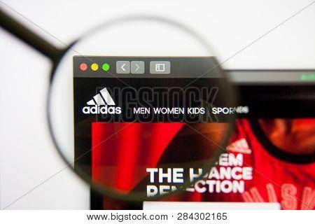 Los Angeles, California, Usa - 14 February 2019: Adidas Website Homepage. Adidas Logo Visible On Mon