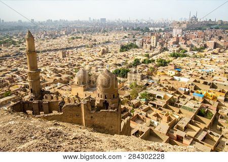 An image of the Mosque and Mausoleum of Shahin Al-Khalwati view over Cairo