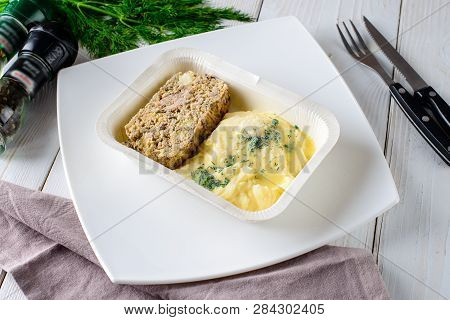 Prepared Frozen Meal, Container With Unhealthy And Unappealing Tv Dinner, Dinners In Containers Read
