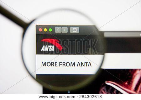 Los Angeles, California, Usa - 14 February 2019: Anta Sports Products Website Homepage. Anta Sports