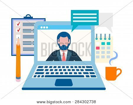 The Conference Is Online, Business Online, Training Online Concept. Vector Illustration For Social M