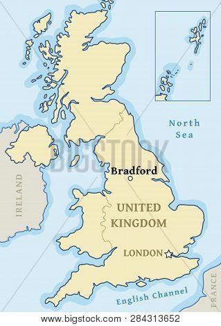 Bradford Map Location - City Marked In United Kingdom (uk Map). Vector Illustration.