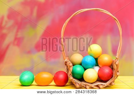 Painted Eggs In Egg Tray. Happy Easter. Spring Holiday. Holiday Celebration, Preparation. Egg Hunt.