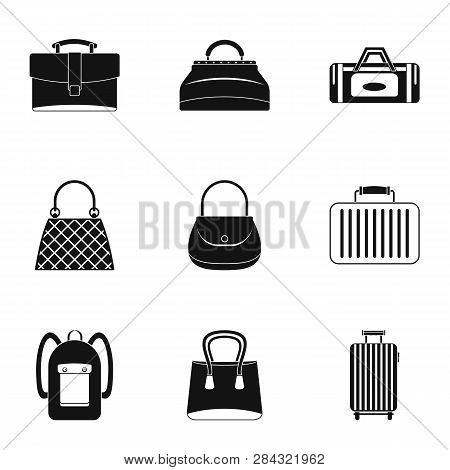 Different Bagage Icon Set. Simple Style Set Of 9 Different Bagage Icons For Web Isolated On White Ba