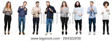 Collage of people over white isolated background disgusted expression, displeased and fearful doing disgust face because aversion reaction. With hands raised. Annoying concept.