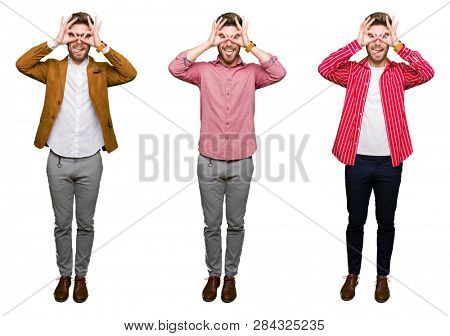 Collage of handsome young business man over white isolated background doing ok gesture like binoculars sticking tongue out, eyes looking through fingers. Crazy expression.