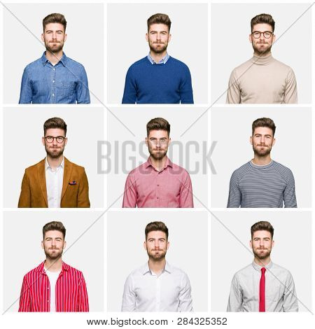 Collage of handsome young business man wearing different looks over white isolated background puffing cheeks with funny face. Mouth inflated with air, crazy expression.
