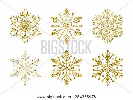 A Golden Snowflakes Set. Elegant Christmas Snow