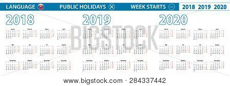 Simple Calendar Template In Slovak For 2018, 2019, 2020 Years. Week Starts From Monday