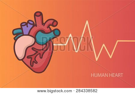 Heart Care Logo. Healthcare And Medical Logo Concept. Vector Illustration In Cartoon Doodle Style