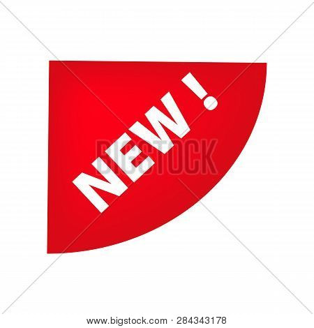 Red Left Top Semicircle Corner Tag With New Banner. Novelty, New Product, New Collection. Sale Banne