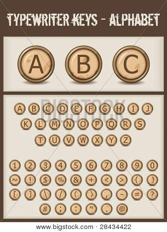 typewriter keys- alphabet- brown
