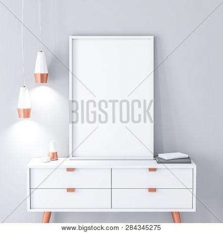 White poster Frame mockup on modern bureau. 3d rendering poster