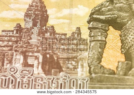 Detail Of A 50000 Cambodian Riel Bank Note Reverse