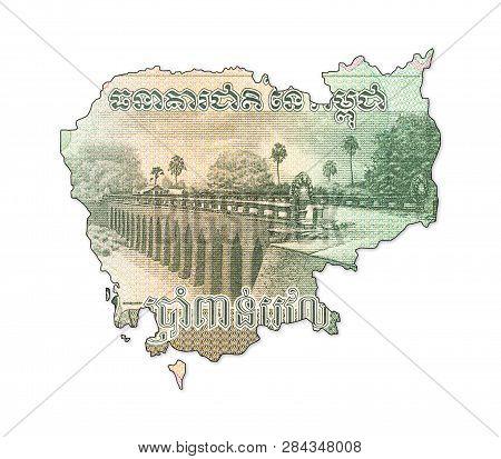 A 5000 Cambodian Riel Banknote In Shape Cambodia