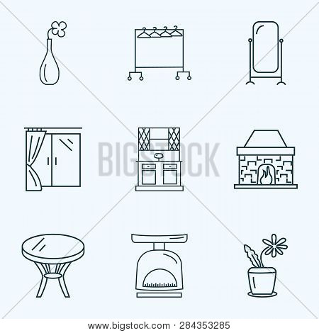 Decor Icons Line Style Set With Clothing Rock, Flower Pot, Floor Mirror And Other Stand Vanity Eleme