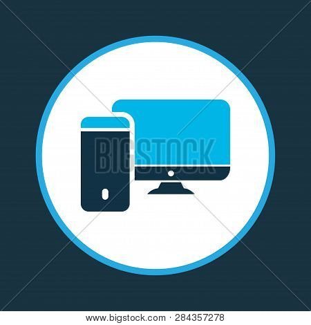 Computer icon colored symbol. Premium quality isolated workstation element in trendy style. poster