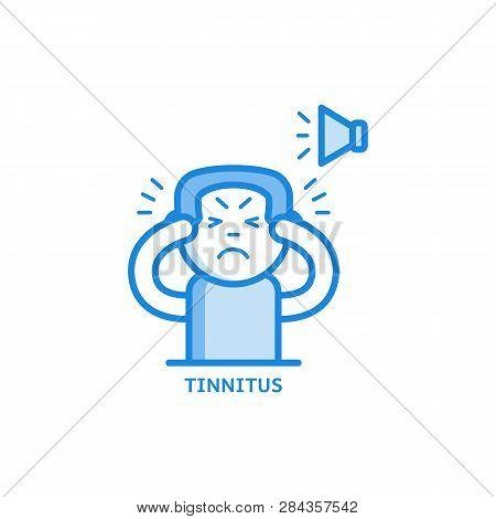Tinnitus Thin Icon - Symptom Of Otolaryngology Disease Isolated On White Background.