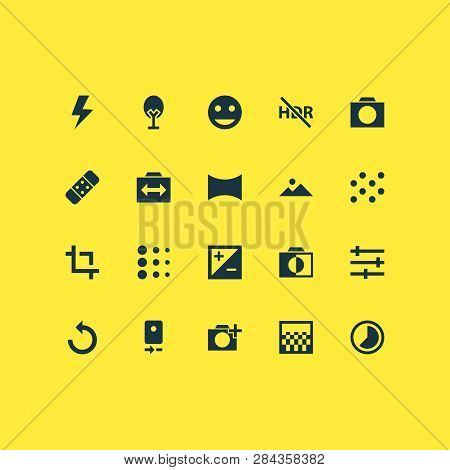 Image Icons Set With Timelapse, Tune, Photographing And Other Mountain Elements. Isolated  Illustrat