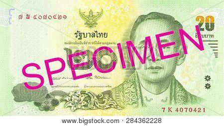 An Old 20 Thailand Baht Note Obverse Specimen