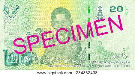 An Old 20 Thailand Baht Note Reverse Specimen