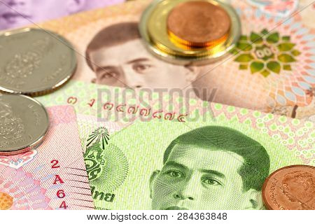 Some Thai Baht Bank Notes And Coins