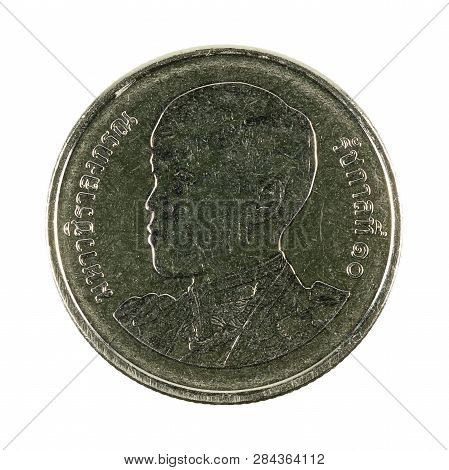 1 New Thai Baht Coin (2018) Obverse Isolated On White Background