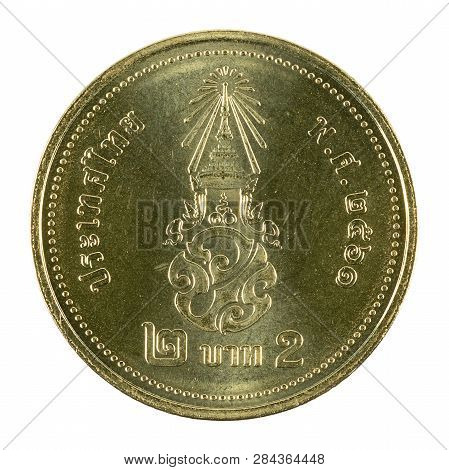 2 New Thai Baht Coin (2018) Reverse Isolated On White Background