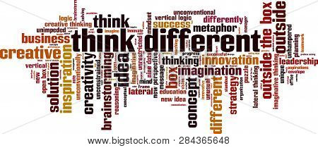 Think Different Word Cloud Concept. Vector Illustration On White
