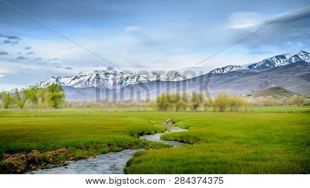 Misty Morning In Wasatch Mountains In Utah