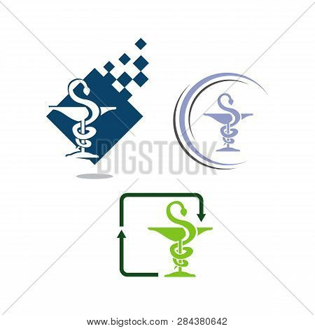 Drugstore Logo Design. Caduseus Icon For Pharmacy Logo. Apothecary Logo Vector. Healing Symbol. Medi