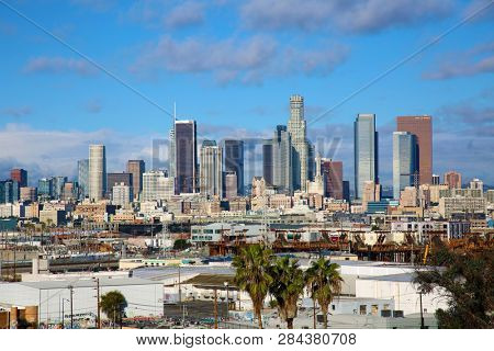 2/12/2019, Los Angeles California: Down Town Los Angeles on a day with blue skies and white clouds. Los Angeles USA.