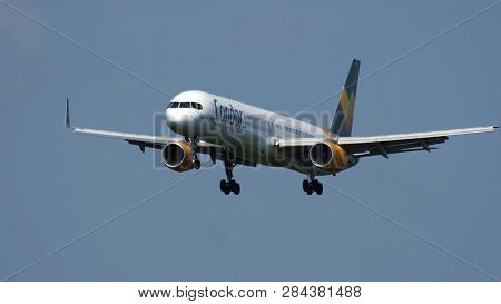Frankfurt Am Main, Germany - July 21, 2017: Boeing 757 Of Condor Airlines Approaching To Frankfurt A