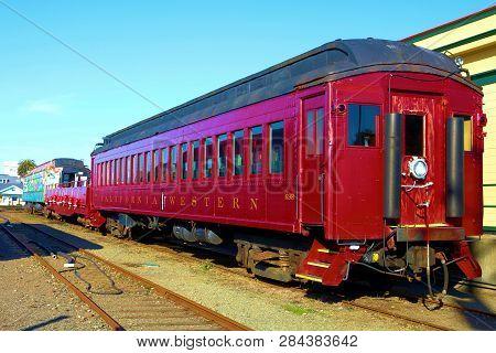 January 23, 2019 In Fort Bragg, Ca:  Vintage Passenger Rail Car Taken At The Skunk Train Rail Depot