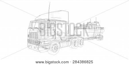Big Truck With A Trailer For Transporting A Boat On A White Background. 3d Rendering.