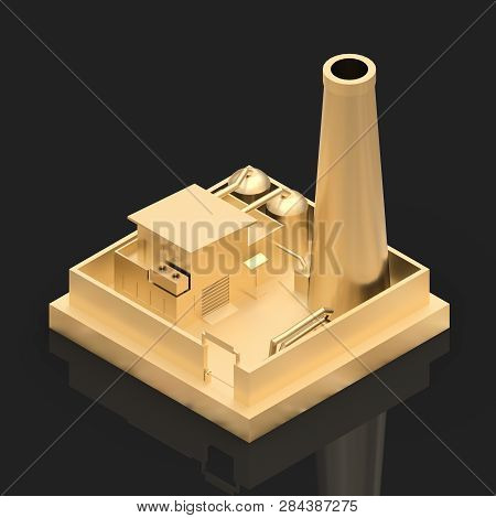 Isometric Cartoon Factory In The Style Of Minimal. Gold Building On A Black Glossy Background. 3d Re