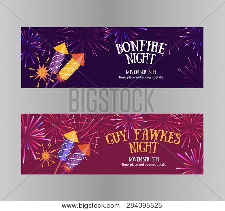 Bonfire Night (guy Fawkes Day) Flayers Contains Firecrackers, Fireworks And Text Block On The Purple