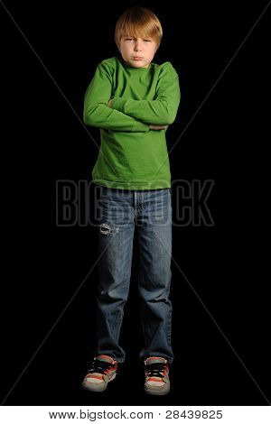 Pouting Young Boy - Full Body