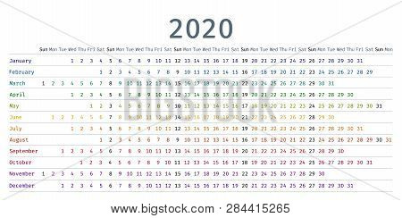 2020 Calendar Linear. Vector. Yearly Calendar Organizer. Stationery Template 2020 Year In Simple Sty
