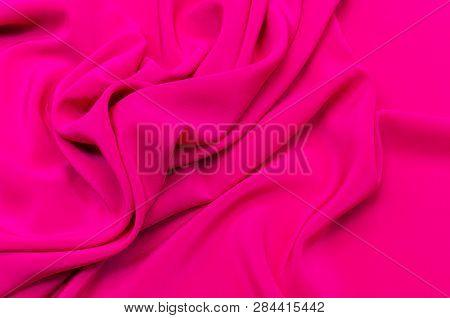 Silk Fabric, Crepe De Chine Color Fuchsia