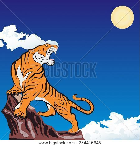 Vector Image Of A Furious Tiger On The Rock. Japanese Style. Striped Predator. Mighty Hunter. Owner