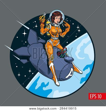 A Vintage Comic Style Sexy Pin-up Girl In Space Suit And Helmet Riding A Big Atomic Bomb. Vector Ill