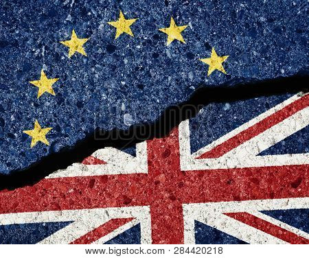 Brexit Concept, Crack In The Asphalt Dividing Ue And Gb Flags