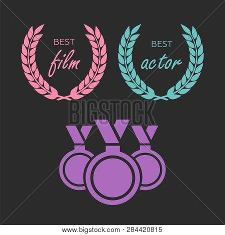 Film Awards, Gold Award. Winner Triumph And Success Vector Laurel