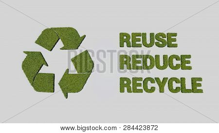 Recycle, Reduce, Reuse Logo Made Of Leaves, 3d Rendering
